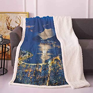 Night Cozy Blanket Aerial View of Mountain Sugar Loaf and Botafogo Rio de Janeiro Throws and Blankets for Sofa Violet Blue Marigold Pale Grey 60