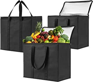 3 Pack Insulated Reusable Grocery Bag by VENO, Durable, Heavy Duty, Extra Large Size, Stands Upright, Collapsible, Sturdy Zipper, Made by Recycled Material, Eco-Friendly (BLACK, 3)