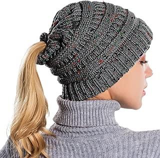 Femmes Stretch Tricot Épais Chapeau désordonné Chignon queue de cheval Beanie hiver chaud Trou Ski Cap