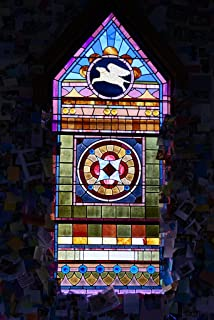 Photograph- Each dog-themed stained-glass window has a theme (see its title) at the Dog Chapel, indeed, a quite serious chapel devoted to departed and/or beloved canine pets 4 44in x 66in