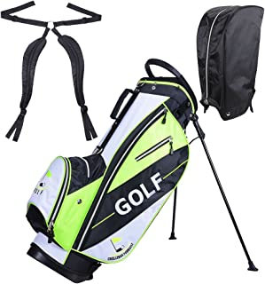 AW Golf Stand Bag 15x11x35' 600D Golf Carry Bag w/ 7 Pockets for Male Adult Golf Accessory