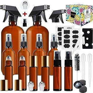 Glass Spray Bottle,MASSUGAR Amber Glass Spray Bottles Set Refillable Container for Essential Oil Bottle Kits - 2 x 16oz, 4 x 2oz Spray Bottles & 6 x 10ml Roller Bottles for Essential Oils or Cleanin