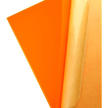 "Orange//Amber Fluorescent Acrylic Plexiglass sheet 1//8/"" x 12/"" x 12/"" #9096"