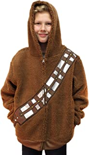 Chewbacca Costume Hoodie Kids Youth Zip Up Sherpa Jacket