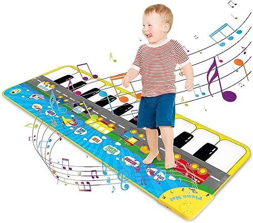 Magicfun Tapis de Piano pour Enfant, Tapis de Danse Musique Tapis de Jeu Musical Réglable avec 9 Sons de Véhicule, Ca...