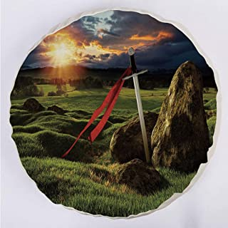YOUWENll Round Decorative Throw Pillow Floor Meditation Cushion Seating/Arthur Camelot Legend Myth in England Ireland Fields Invincible Sword Image/for Home Decoration 17