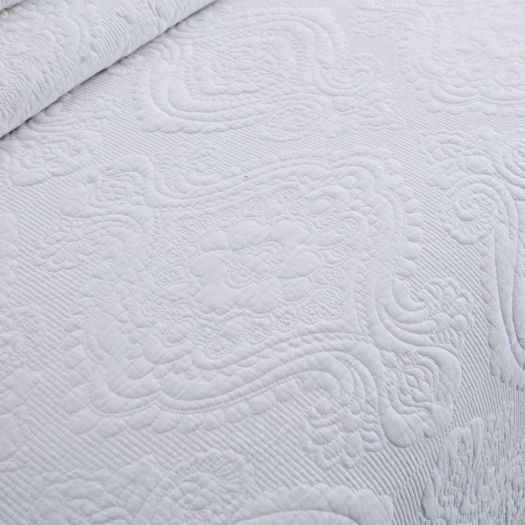 3PCS Couvre-Lits Lit Double Throw/King Size Consolateur, Coton matelassée Quilt brodé de Fleurs Couvertures Literie Multifonction All Seasons Bed Cover (Couleur : Jaune) Blanc