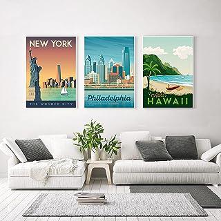 Viajes Ciudades Poster Impresiones Paisaje Arte De La Pared Pintura De La Lona De La Vendimia Cuadros De La Pared Moderna ...