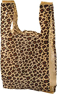Small Leopard Print Plastic T-Shirt Bags - Case of 1,000