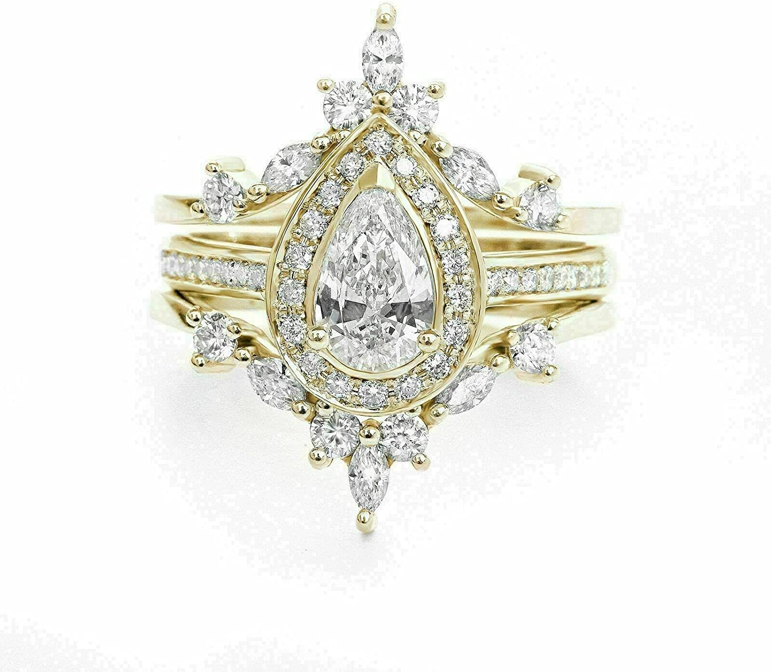 3Ct Pear Cut Diamond Engagement Wedding G Set in Yellow Ring Sale Special Price Branded goods 14K