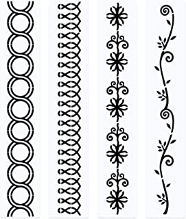 4 Pieces Line Quilting Stencil Kit Sewing Stencils Flower Reusable Mylar Template Stencils for Sewing on Fabric Quilt Clothes