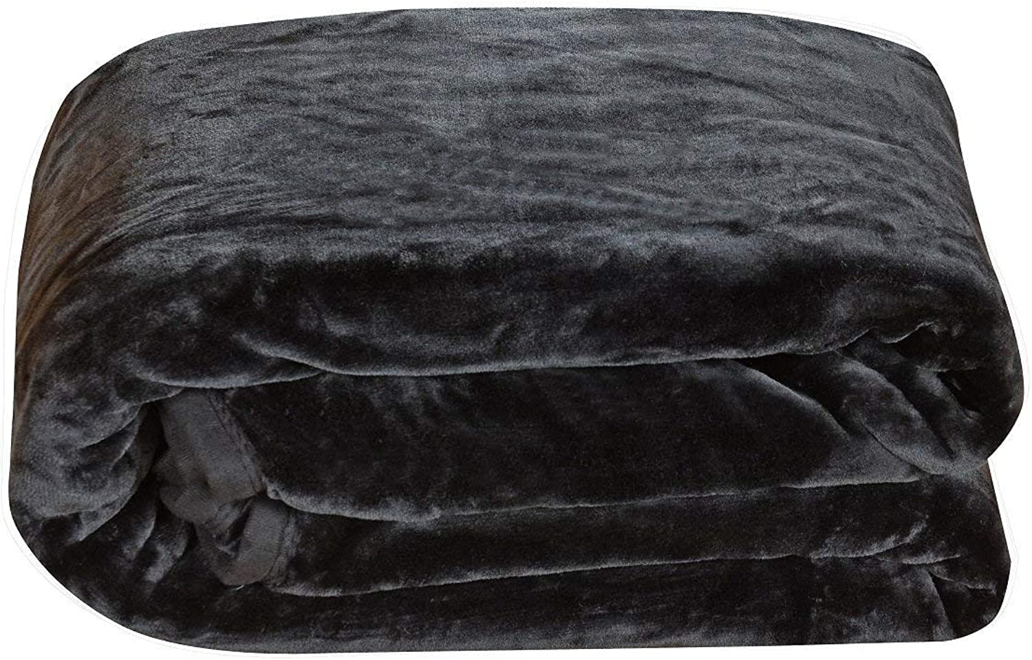 Chezmoi Collection Heavy Thick One Ply Korean Style Faux Mink Blanket 8-Pound Oversized Queen 90x92 (Queen, Black)