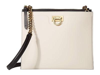 Salvatore Ferragamo Gancio Square Bicolor Crossbody (Bone/Nero) Handbags