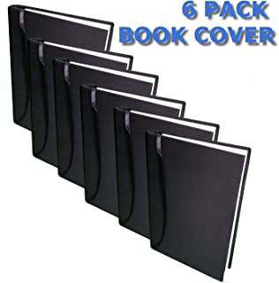 Book Protector with Sewn in Book Marker (Black) 6 Pack Stretchable Book Cover Washable Reusable Durable for Hard Book Cover