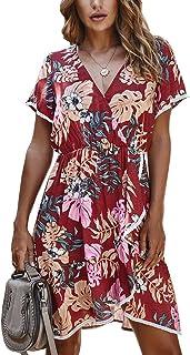 Vestido Camisero sin Mangas con Cuello en V de Verano para niña S-XL-Vestido con Volantes Impresos Irregulares