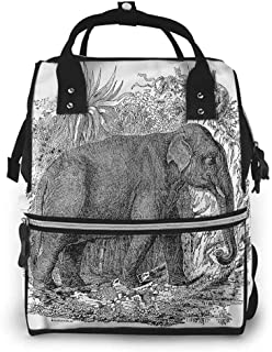 Diaper Backpack Travel Organizer, Animal Botanic Tropic Trees Leaves, Large Capacity, Waterproof and Stylish