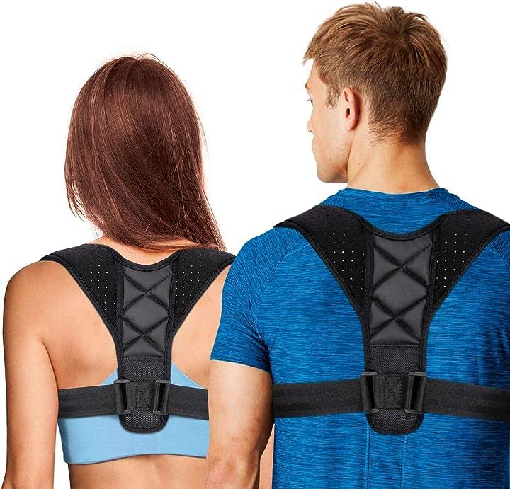 Correttore postura uomo donna,disp. medico ce,fascia posturale spalle e schiena traspirante regolabile B07L13X9YG