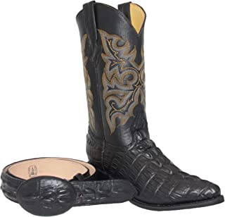 Western Shops Mens Leather Crocodile Alligator Design Cowboy Western Boots with Free Belt