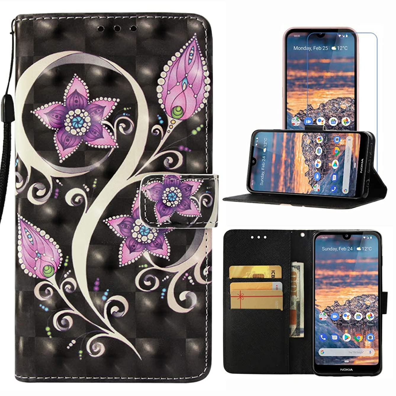Case for Nokia 4.2, Firstcover Colorful Premium PU Leather Wallet Phone Case Cover for Nokia 4.2 with Screen Protector