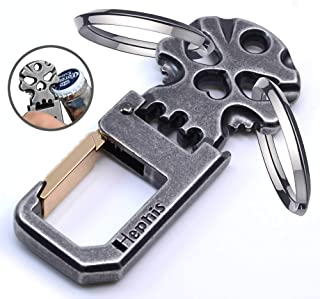 Hephis Strong Keychain with Heavy Duty Bottle Opener,Convenient Key Management,Hefty Car Key Chains for Men and Women(Antique Black and Gold)