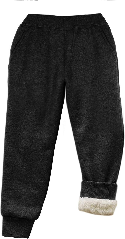 Tanming Girl's Boy's Kid's Warm Elastic Waist Sherpa Lined Unisex Jogger Sweatpants