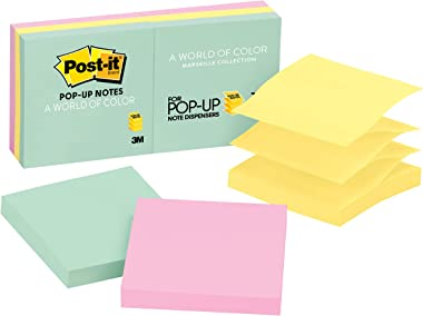 Post-it Pop-up Notes, 3x3 in, 6 Pads, America's #1 Favorite Sticky Notes, Marseille Collection, Pastel Colors (Pink, Mint