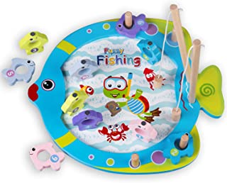 Fishing Game - Learning Fishing Toy Catching Counting Magnetic Fish Game for Toddlers - Indoor Outdoor and Travel Family Fun - Educational Math Kids Fishing Game for Boys and Girls