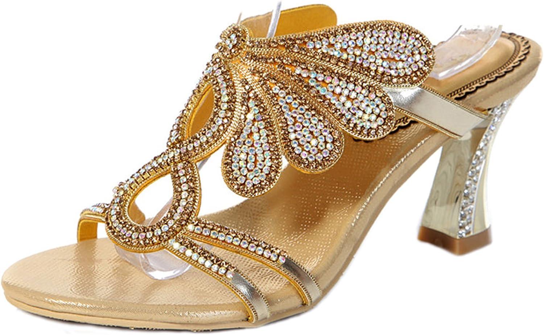 LizForm Women Rhinestone Embellished Slid Casual Sandal Wedge Evening Sandal