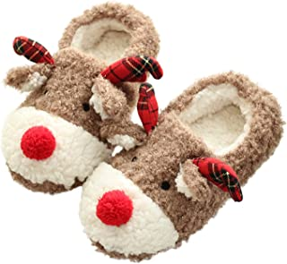 Women's Hand Made Lovely Deer Plush Soft Warm Home Slippers Shoes
