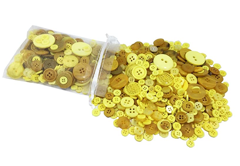 levylisa 500 PCS - Favorite Findings Basic Plastic Craft Buttons Embellishments Assorted Sizes,Color for Arts & Crafts, Decoration, Collections, Sewing, DIY Sewing Kit(Yellow)