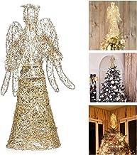 KESYOO Angel Christmas Tree Topper Gold Glitter Christmas Treetop Decoration Coated Metal Angel Xmas Tree Topper Ornaments...