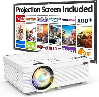 QKK Projektor AK 81 mit Projektionsleinwand, 6000 Lumen, Mini Projektor, 1080P Full HD unterstützt, HD Native 720P Videoprojektor kompatibel mit TV Stick, Smartphone, HDMI, SD USB, Heimkino Projektor