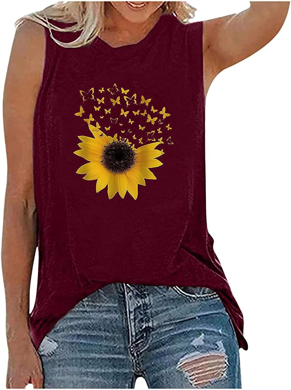 GOODTRADE8 Womens Tank Tops Sunflower Casual Loose Fit Tee Shirts Sleeveless Vest Summer S-2XL