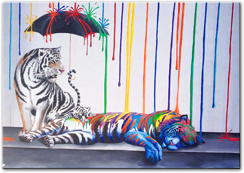 Sunsightly Canvas Animal Tiger Graffiti Art Prints Modern Abstra