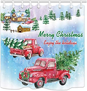 """Rustic Truck Car with Christmas Xmas Tree Shower Curtain, Red Retro Truck in Snow with Pine Fir Tree Fabric Bathroom Shower Curtain, New Year Vintage Family Home Bath Curtain with Hooks, 69""""X70"""