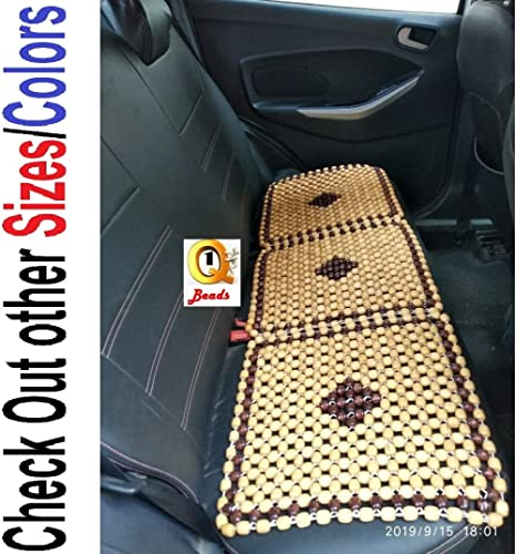 Q1 Beads Wooden beads car BACK SEAT cover cushion-XL size for all the small cars & Hatchback (XL,Beige)
