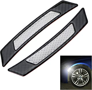 iJDMTOY Pair Universal White Reflective Side Marker Stickers w/ Outer Black Carbon Fiber Trim Compatible With Car SUV Truck Wheel Well Arch or Side Bumper/Fenders