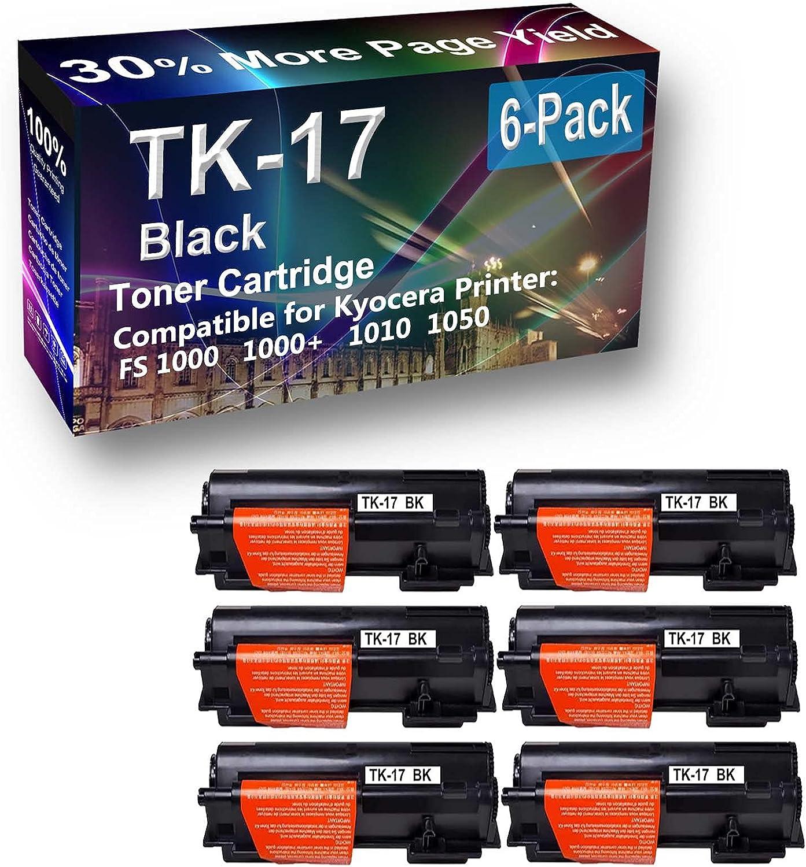 6-Pack Compatible High Capacity TK17 (TK-17) Toner Cartridge use for Kyocera EcoSys 1000 Printer (Black)