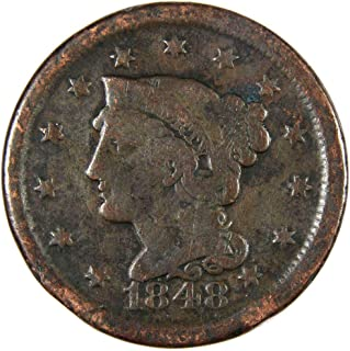 1848 1c Braided Hair Large Cent Penny US Coin Genuine