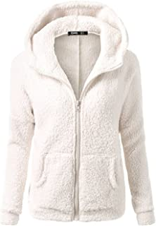 Women's Fleece Hoodie Jacket Warm Zipper Up Wool Coat Autumn Winter Outerwear