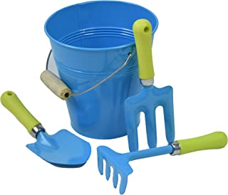 G & F Products 10051 JustForKids Kids Water Pail with Garden Tools Set, Blue,4 pieces