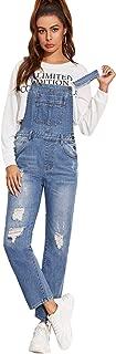 Milumia Womens Casual Bib Straight Leg Denim Jean Overall Jumpsuit with Pocket