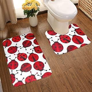 BCDVZ Red Ladybugs Bathroom Rug Set 2 Piece Bathroom Contour Rugs Combo, Soft Shaggy Bath Shower Mat 80 X 50 cm and U-Shaped Toilet Floor Rug 50 X 40 cm