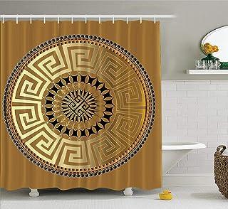 KJONG Mandala Bathroom Shower Curtains 72X78 Inches Mandala Ancient Geometric Ornament Gold Black Antique with Waterproof ...