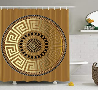 KJONG Mandala Bathroom Shower Curtains 72x78 inches Mandala Ancient Geometric Ornament Gold Black Antique with Waterproof Fabric Bathroom Curtain Set of Hooks
