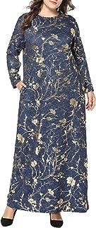 Qianliniuinc Abaya Islamic Elegant Maxi Dress - Women Muslim Cotton Long Sleeve Kaftan Jalabiya Arabic Clothing Floral Poc...