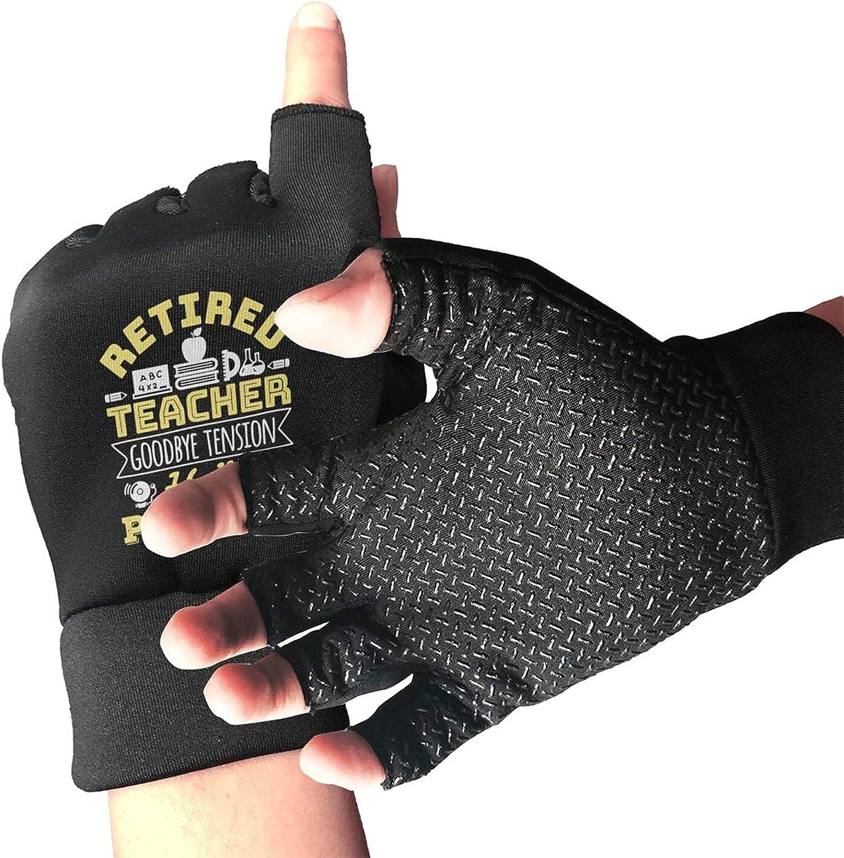 Retired Teacher Goodbye Tension Hello Pension Non-Slip Driving Gloves Breathable Sunblock Fingerless Gloves For Women Men