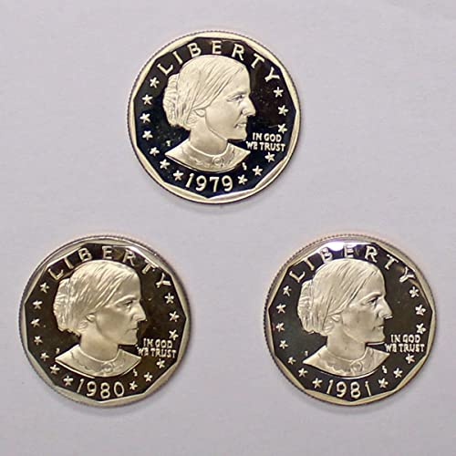 SBA 12 coin set BU Susan Anthony dollar coins 1979-1981 P,D,S /& S-mint PROOFS