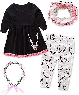 Girls Cotton Cute Print Long Sleeve Clothing Set Outfits Headband Wreath Scarf Dress up 4PCS(1-6Years)