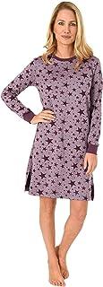 Nachthemd Sleepshirt Damen Bigshirt geknöpft gestreift Blumen Langarm S-XXL NEU